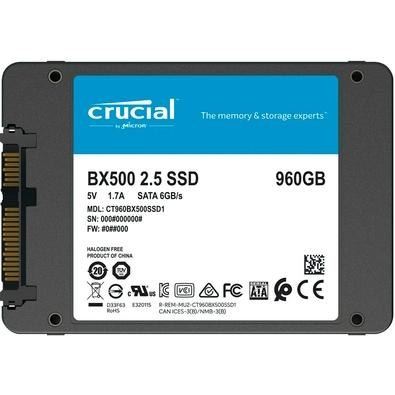 SSD Crucial BX500, 960GB, SATA, Leitura 540MB/s, Gravação 500MB/s - CT960BX500SSD1