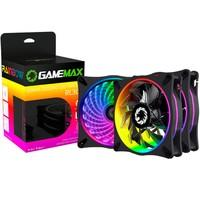 Kit Cooler Fan Gamemax com 3 Unidades, Rainbow, 12cm, Controle Remoto - RL300