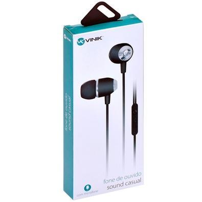 Fone de Ouvido Intra Auricular Vinik Sound Casual, Com Microfone, Preto Metálico - 29351