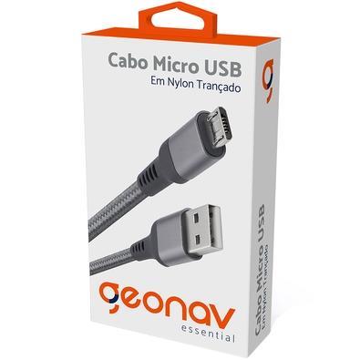 Cabo Micro USB, 1m, Geonav Essential, Nylon Trançado, Cinza - ESMISG