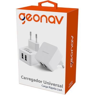 Carregador de Parede Universal Geonav, Dupla Saída USB 3.4A - CH34AC