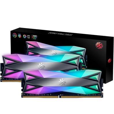 Memória XPG Spectrix D60G RGB 32GB (2x16GB), 3200MHz, DDR4, CL16, Cinza - AX4U3200316G16-DT60