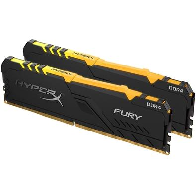 Memória HyperX Fury RGB, 16GB (2x8GB), 3200MHz, DDR4, CL16, Preto - HX432C16FB3AK2/16