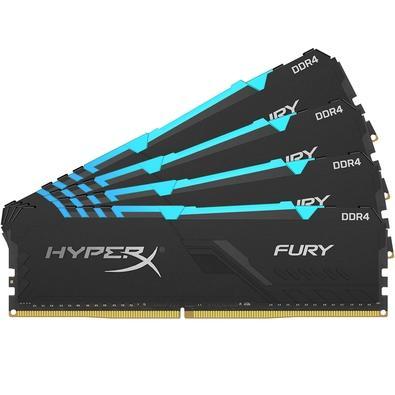 Memória HyperX Fury RGB, 64GB (4x16GB), 3466MHz, DDR4, CL16, Preto - HX434C16FB3AK4/64