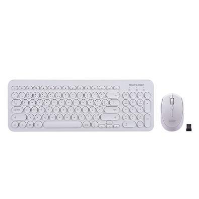 Teclado + Mouse Sem Fio Multilaser, Multimídia, ABNT, Branco - TC232