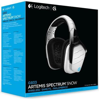 Headset Sem Fio Gamer Logitech G933 Snow, RGB Lightsync, 7.1 Dolby Surround, Drivers Pro-G - Branco