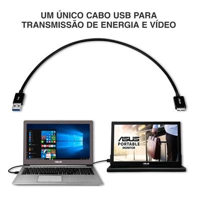 Monitor Portátil Asus 15.6´, Widescreen, USB 3.0, Prata/Preto - MB168B