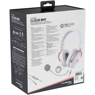 Headset Sem Fio Gamer HyperX Cloud Mix Rose Gold, Bluetooth, Drivers 40mm, Branco - HX-HSCAM-RG/WW