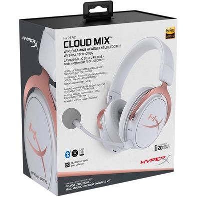 Headset Sem Fio Gamer HyperX Cloud Mix Rose Gold, Bluetooth, Drivers 40mm, Branco - HX-HSCAM-RG/WW