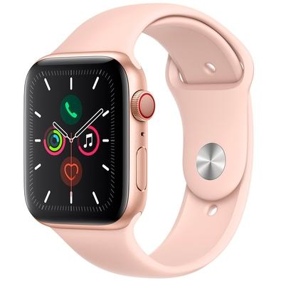 Apple Watch Series 5, GPS + Cellular, 44mm, Dourado, Pulseira Areia Rosa - MWWD2BZ/A