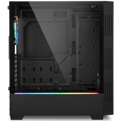 Gabinete Gamer Sharkoon LIT100, Mid Tower, RGB, com FAN, Lateral em Vidro - LIT100