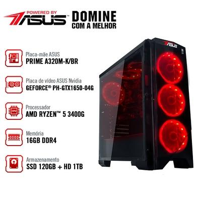 Computador Gamer BRX POWERED BY ASUS AMD Ryzen 5 3400G, 16GB, 1TB, SSD 120GB, Asus NVIDIA GeForce GTX 1650 4GB, Windows 10 Pro - BRXPC534001000700W
