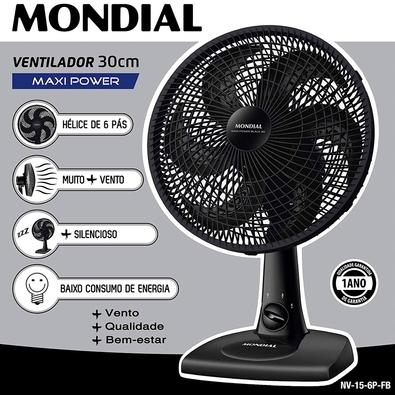 Ventilador de Mesa Mondial Maxi Power, 30cm, 3 Velocidades, 110V - NV-15-6P-FB
