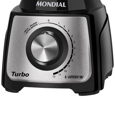Liquidificador Mondial Turbo Black, 12 Velocidades, 1200W, 220V, Preto/Inox - L-1200 BI