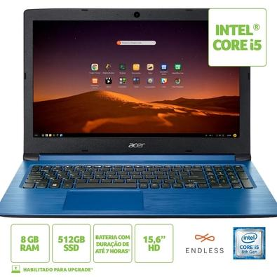 Notebook Acer Aspire 3 Intel Core i5-8250U, 8GB, SSD 512GB, Endless OS, 15.6´, Azul - A315-53-C2SS