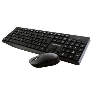 Teclado + Mouse Sem Fio Multilaser, ABNT2, Preto - TC244