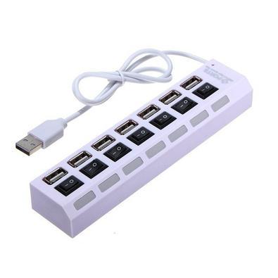 Hub USB MD9, 7 Portas USB 2.0, com Interruptor de Energia + Cabo Branco - 9169