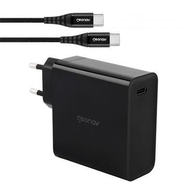 Carregador de Tomada Geonav Superpower, 1 Porta USB-C, Cabo USB-C x USB-C, Preto - CH65WPDBK