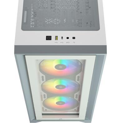 Gabinete Gamer Corsair iCUE 4000X, Mid Tower, RGB, com FAN, Lateral e Frontal em Vidro, Branco - CC-9011205-WW