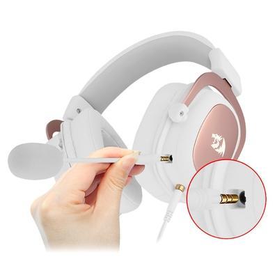 Headset Redragon Zeus-Sakura Edition, USB ou Entrada de Áudio de 3.5mm, 7.1 Surround, Branco e Rose Gold - H510W