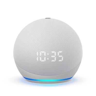 Smart Home Echo Dot Amazon Alexa, com Relógio, 4 Geração, Branco - B084J4WP6J