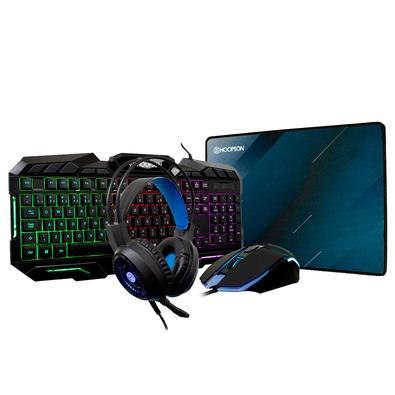 Kit Gamer 4 em 1 Hoopson LED Rainbow - Teclado + Mouse + Headset + Mousepad - TPC-068K