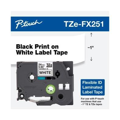 Fita Brother para Rotulador TZEFX251 24mm, Flexivel, Preto/Branco