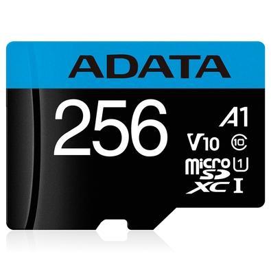 Cartão de Memória Adata MicroSDXC 256GB Classe 10 com Adaptador - AUSDX256GUICL10A1-RA1
