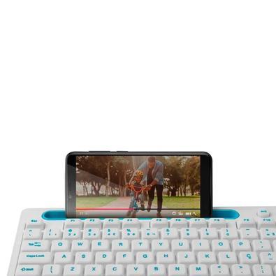 Teclado Multilaser Multimidia Office, USB, com Apoio para Smartphone, Teclas Silenciosas, Branco - TC263
