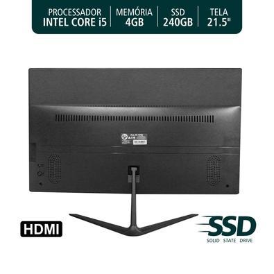 Computador All In One Brazil PC i5-2400S, 4GB RAM, SSD240, Monitor 21.5, Preto