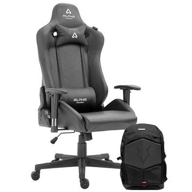 Cadeira Gamer Alpha Gamer Zeta Black - AGZETA-BK + Mochila Gamer Husky Gaming Avalanche, para Notebook de até 17.3´, Preta