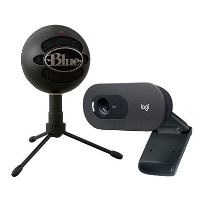Kit Microfone Condensador USB Blue Snowball Ice Preto + WebCam Logitech C505 HD