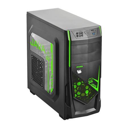 Gabinete Gamer PCYES Mid-Tower Java Verde com 2 FANs LED Verde Lateral em Acrílico – JAVAPTOVD2FCA