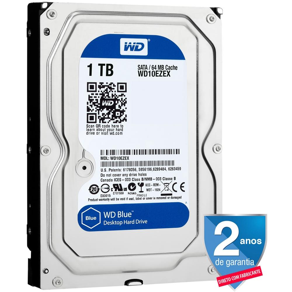HD WD SATA 3,5 Blue PC 1TB 7200RPM 64MB Cache SATA 6.0Gb/s - WD10EZEX
