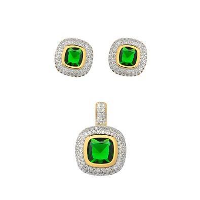 Conjunto de Brincos e Pingente Quadrado Verde Esmeralda - CJMT066