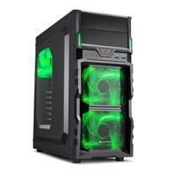 Gabinete Sharkoon ATX USB 3.0 3x Fan LED VG5-W Green