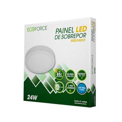 Painel Ecoforce LED Redondo 100-240V (Bivolt) 24W 6500K Sobrepor Alumínio 17135