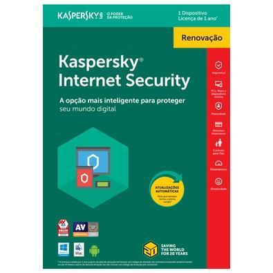 Kaspersky Internet Security 2018 Multidispositivos 1 PC - Renovação - Digital para Download
