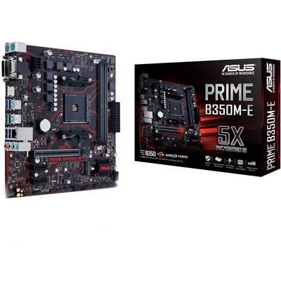 Placa-Mãe ASUS p/ AMD AM4 mATX PRIME B350M-E, DDR4, 4x SATA 6Gb/s, AI Suite 3, Ai Charger, CrashFree BIOS3, 1x M.2 Soq 3, Suporta Ryzen 2000