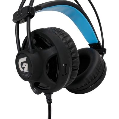Headset Gamer Fortrek com LED Azul, P2, Preto - H2