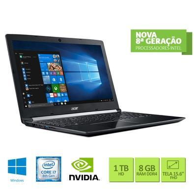 Notebook Acer Intel Core i7-8550U, RAM 8GB, HD 1TB, 15.6´, Windows 10, Preto e Cinza - A515-51G-C690