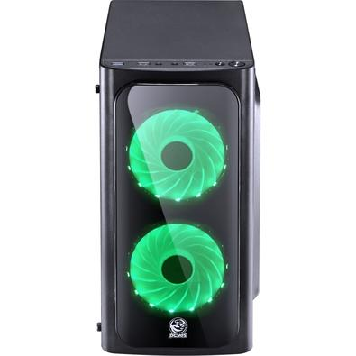 Gabinete Gamer PCYes Venus sem Fonte, Mid Tower, USB 3.0, 2 Fans LED Verde, Preto com Lateral em Acrílico - VENPTVD2FCA