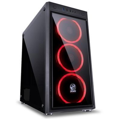 Gabinete Gamer PCYes Jupiter sem Fonte, Mid Tower, USB 3.0, 3 Fans LED Vermelho, Preto com Lateral e Frontal em Vidro - JUPPTVM3FCV