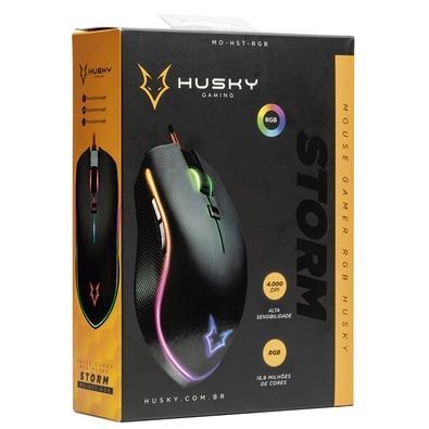 Mouse Gamer Husky Storm, RGB, 6 Botões, 4000DPI - MO-HST-RGB