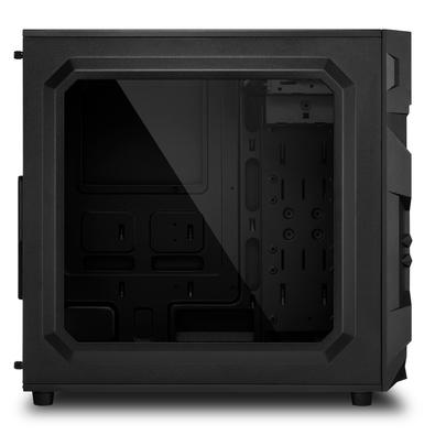 Gabinete Gamer Sharkoon VG7-W, Mid Tower, LED Verde, 3 Coolers, Lateral em Acrílico, Preto