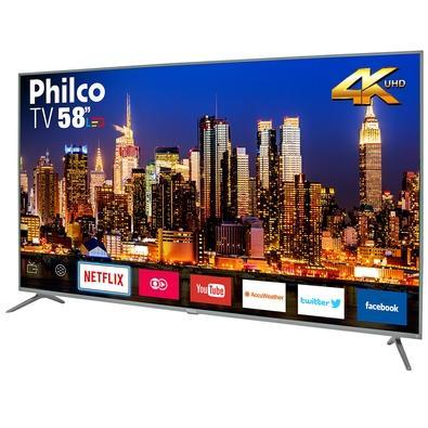 Smart TV LED 58´ UHD 4K Philco, Conversor Digital, 3 HDMI, 2 USB, Wi-Fi, HDR - PTV58F60SN