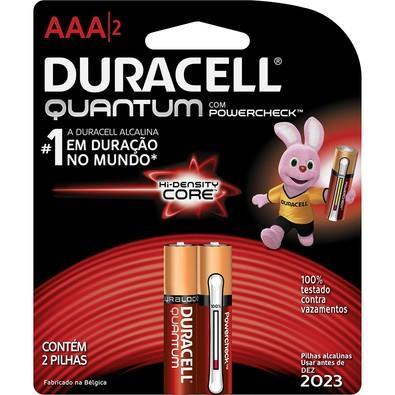 Pilha Duracell Alcalina AAA Quantum PowerCheck com 2 Unidades - 66980