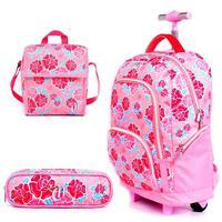 Mochila Escolar Capricho de Rodinhas Liberty Pink DMW com Nécessaire e Cooler Tam Grande Ref 11339