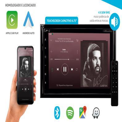 Central Multimídia Evolve X CD/DVD com Tela de 6,75 Pol. Funções Bluetooth Car Play Android Auto e Conexões AUX USB e MicroSD Preto Multilaser - GP331
