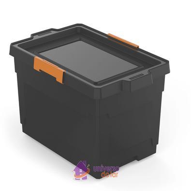 Caixa Organizadora 60L Preto Basic com Rodas Tramontina